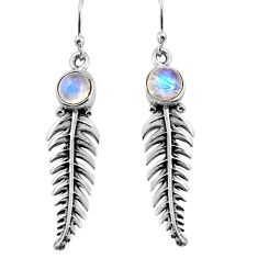 2.58cts natural rainbow moonstone 925 sterling silver leaf charm earrings p91379