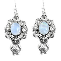 6.56cts natural rainbow moonstone 925 sterling silver owl earrings p51947