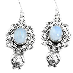 6.33cts natural rainbow moonstone 925 sterling silver owl earrings p51949