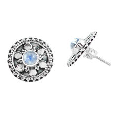 1.96cts natural rainbow moonstone 925 sterling silver stud earrings p64052