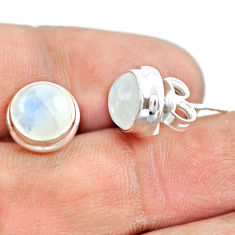 6.52cts natural rainbow moonstone 925 sterling silver stud earrings p74568