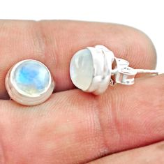 6.97cts natural rainbow moonstone 925 sterling silver stud earrings p74575