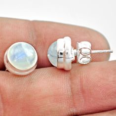 6.86cts natural rainbow moonstone 925 sterling silver stud earrings p74576