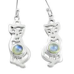 2.19cts natural rainbow moonstone 925 sterling silver two cats earrings p60869