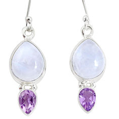 13.71cts natural rainbow moonstone amethyst 925 silver dangle earrings p32662