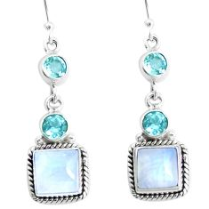 13.28cts natural rainbow moonstone blue topaz 925 silver dangle earrings p39485