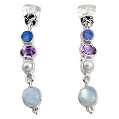 Clearance Sale- 14.12cts natural rainbow moonstone white pearl 925 silver dangle earrings d32335