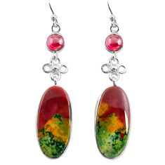 18.51cts natural red bloodstone african (heliotrope) 925 silver earrings p78684