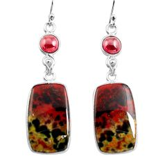 19.76cts natural red bloodstone african (heliotrope) 925 silver earrings p78686