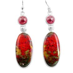 17.96cts natural red bloodstone african (heliotrope) 925 silver earrings p78689