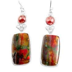20.37cts natural red bloodstone african (heliotrope) 925 silver earrings p78691