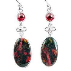 19.09cts natural red bloodstone african (heliotrope) 925 silver earrings p78696