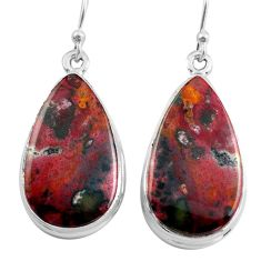 19.23cts natural red bloodstone african (heliotrope) 925 silver earrings p88701