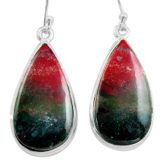 22.02cts natural red bloodstone african (heliotrope) 925 silver earrings p88705