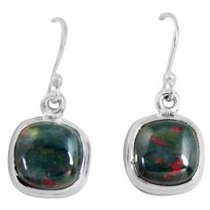 8.87cts natural red bloodstone african (heliotrope) 925 silver earrings p89305