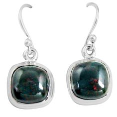 9.37cts natural red bloodstone african (heliotrope) 925 silver earrings p89306