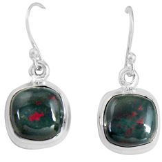 8.56cts natural red bloodstone african (heliotrope) 925 silver earrings p89308