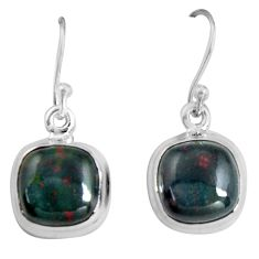 8.87cts natural red bloodstone african (heliotrope) 925 silver earrings p89309