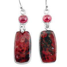19.76cts natural red bloodstone african 925 silver dangle earrings p78681