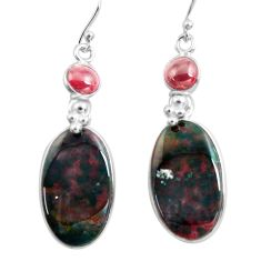 21.47cts natural red bloodstone african 925 silver dangle earrings p78682