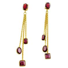 11.92cts natural red garnet 925 silver 14k gold chandelier earrings p87466