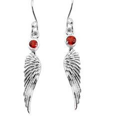 0.74cts natural red garnet 925 silver dangle feather charm earrings p82413