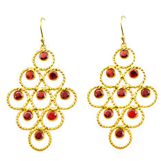 11.24cts natural red garnet 925 sterling silver 14k gold dangle earrings p75449