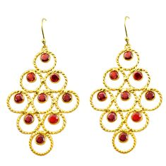 8.87cts natural red garnet 925 sterling silver 14k gold earrings jewelry p92725