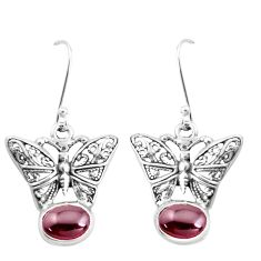 4.21cts natural red garnet 925 sterling silver butterfly earrings jewelry p38497