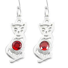 2.19cts natural red garnet 925 sterling silver cat earrings jewelry p40252