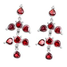 13.69cts natural red garnet 925 sterling silver chandelier earrings p43899