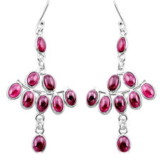 17.49cts natural red garnet 925 sterling silver chandelier earrings p48983