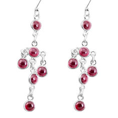 11.19cts natural red garnet 925 sterling silver chandelier earrings p60576