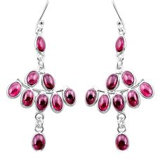 16.86cts natural red garnet 925 sterling silver chandelier earrings p60579