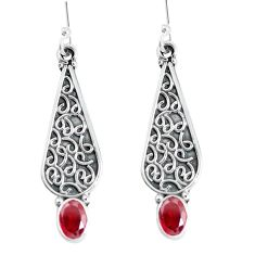 3.36cts natural red garnet 925 sterling silver dangle earrings jewelry d31683