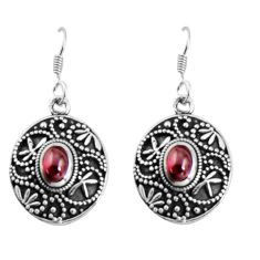 3.56cts natural red garnet 925 sterling silver dangle earrings jewelry d32459