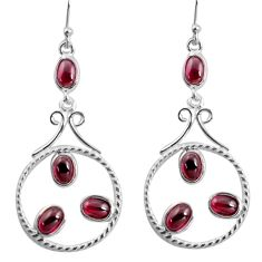 10.02cts natural red garnet 925 sterling silver dangle earrings jewelry d32461