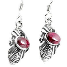 3.87cts natural red garnet 925 sterling silver dangle earrings jewelry p34361