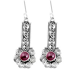 2.85cts natural red garnet 925 sterling silver dangle earrings jewelry p39225