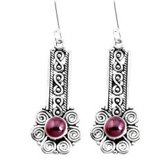 2.85cts natural red garnet 925 sterling silver dangle earrings jewelry p39226