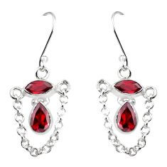 5.96cts natural red garnet 925 sterling silver dangle earrings jewelry p45642