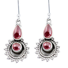 6.26cts natural red garnet 925 sterling silver dangle earrings jewelry p58222