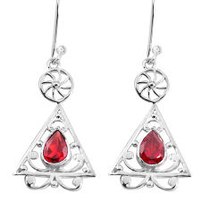 3.41cts natural red garnet 925 sterling silver dangle earrings jewelry p60736