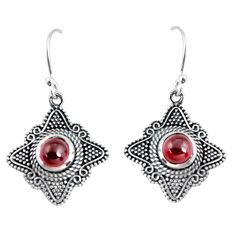2.81cts natural red garnet 925 sterling silver dangle earrings jewelry p63952