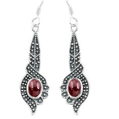 3.91cts natural red garnet 925 sterling silver dangle earrings jewelry p64961