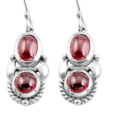 7.12cts natural red garnet 925 sterling silver dangle earrings jewelry p64989