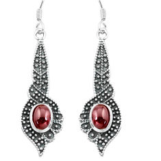 3.98cts natural red garnet 925 sterling silver dangle earrings jewelry p65013