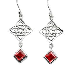 5.54cts natural red garnet 925 sterling silver dangle earrings jewelry p73607