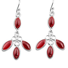 11.86cts natural red garnet 925 sterling silver dangle earrings jewelry p77381
