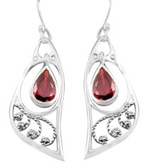 5.22cts natural red garnet 925 sterling silver dangle earrings jewelry p82241